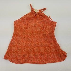 Michael Kors Blouse 100% Silk Sleeveless Orange308